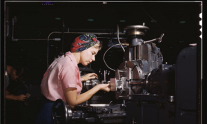 woman working at an aircraft factory