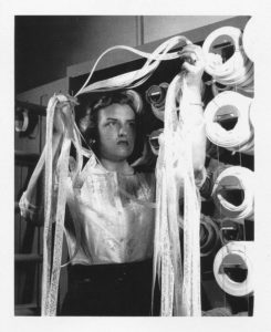"Doris Rudd Porter, ""human computer,"" with Manometer tape, ca. 1946 (?)"