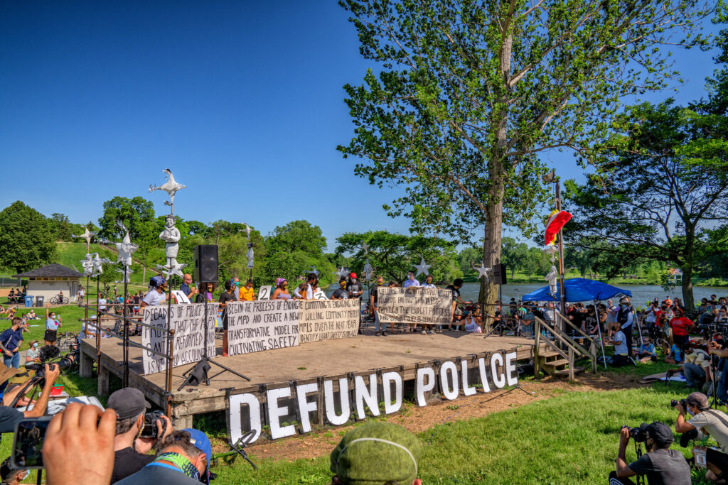 Site of city council announcement to defund MPD in Powerderhorn Park, Minneapolis