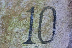 photo of a number ten on a wall
