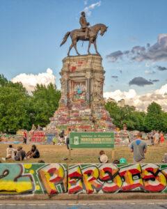 Richmond Lee statue covered in protest grafitti