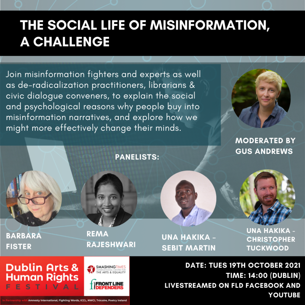 """poster for the """"social life of misinformation"""" event"""